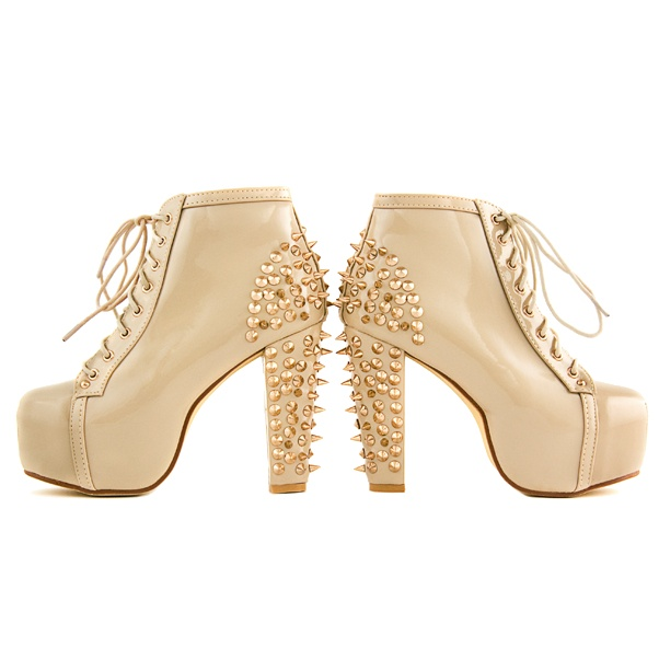 High heels boots as JC lity with studs LS40182CV NUDE DEASHOP shoes