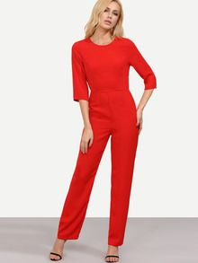 Red Long Sleeve Backless Jumpsuit -