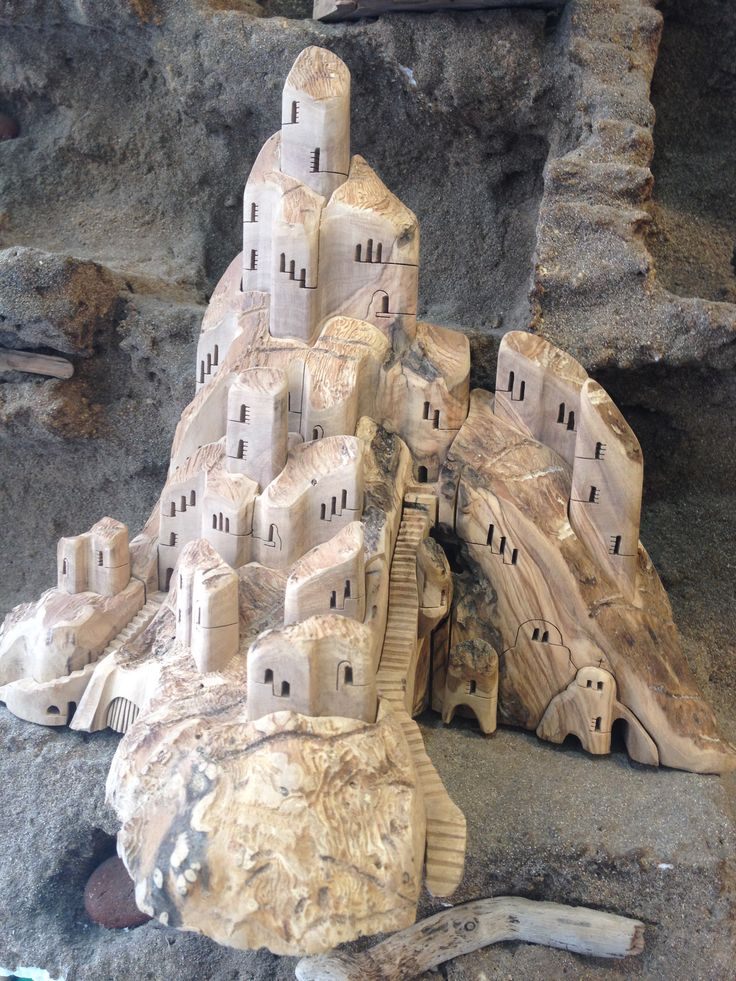 Castle Houses made of Olive Wood ONLY available at 'OLIVE TREE STORE - Athens'