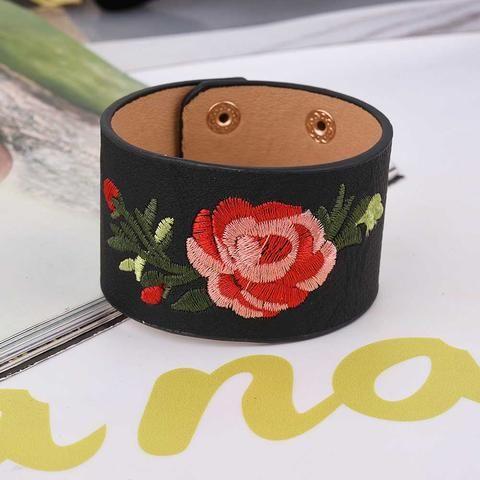 [EBay] 2017 Bohemia Embroidery Flower Leather Bracelet Female Fashion Wide Pu Leather Bracelets
