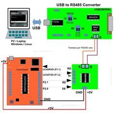 Block diagram for controlling devices remotely from an x86 PC using USB to RS485 converter and MSP430 Launchpad.The Full Tutorial can be found here http://www.xanthium.in/RS485-communication-using-MAX485-and-MSP430-Launchpad