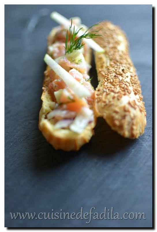 Éclair au tartare de saumon et pomme verte - cuisine de Fadila