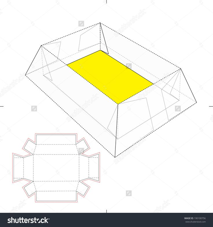 Tray Box With Die Cut Layout Stock Vector Illustration 190100756 : Shutterstock