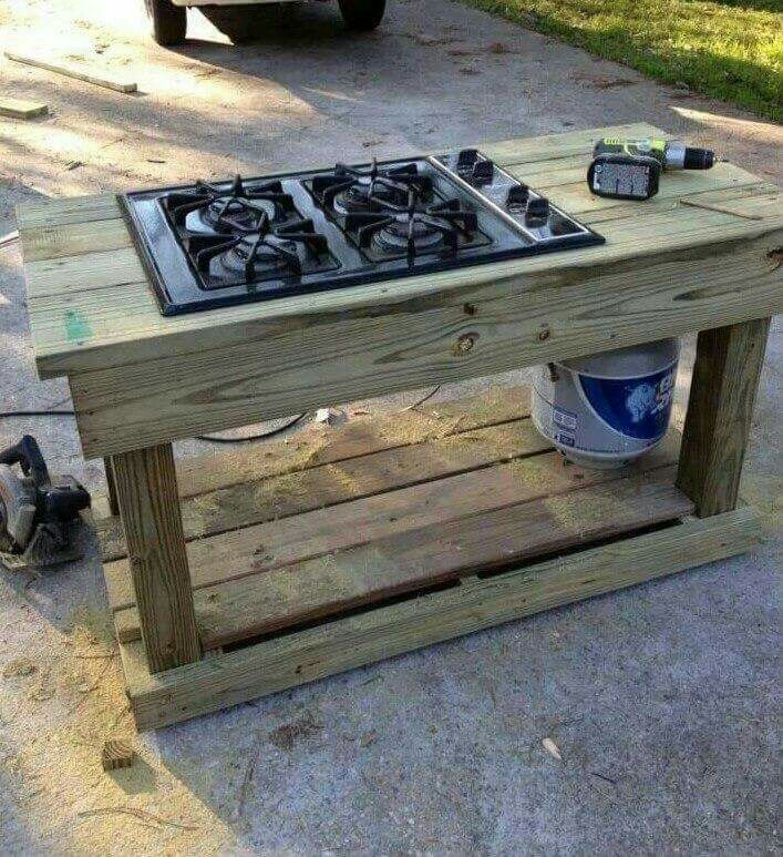 Outdoor cooking, old cooktop....