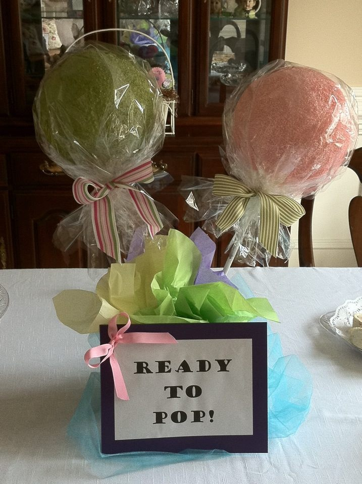 ready to pop baby shower theme cute center piece