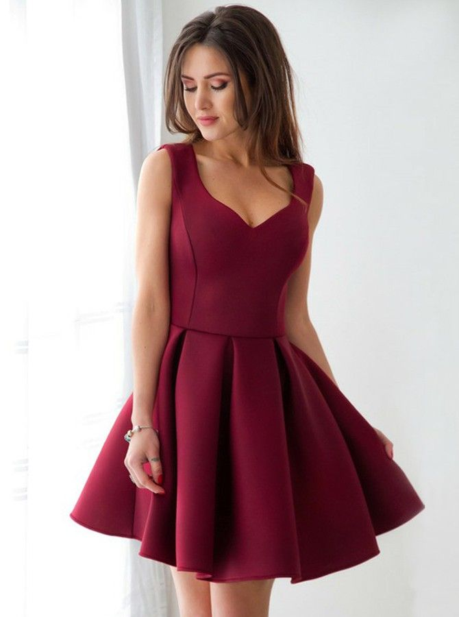 47be06944b4 A-Line Scoop Short Pleated Dark Red Satin Homecoming Dress