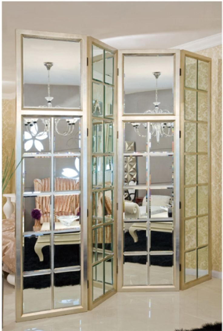 Decorative Mirrored Screens Room Divider Folding Mirror