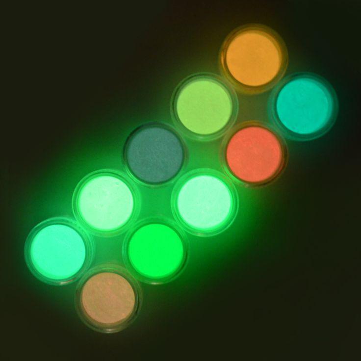 1 pc holographic powder Nail Partai Tubuh Lapisan Fosfor Fluorescent Dekorasi Bubuk Bercahaya Noctilucent Debu Cerah Pigmen