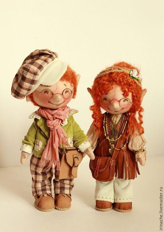 Купить Хиппи-пара Гномов. - гном, гномик, гномочка, кукла ручной работы, кукла