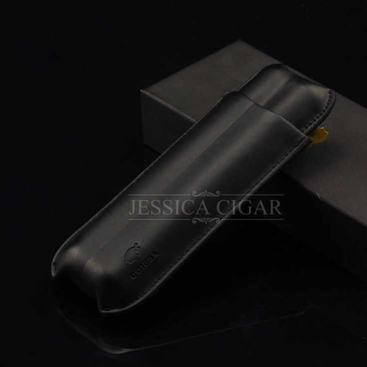COHIBA Black 2 Tubes Portable Leather Cigar Case Business Style Brife Design Mini Cigars Humidor with Gift Box