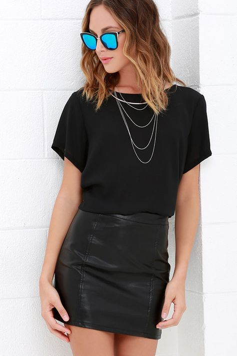 For an outfit that is out of this world, be sure to include the Cyberspace Black Vegan Leather Mini Skirt