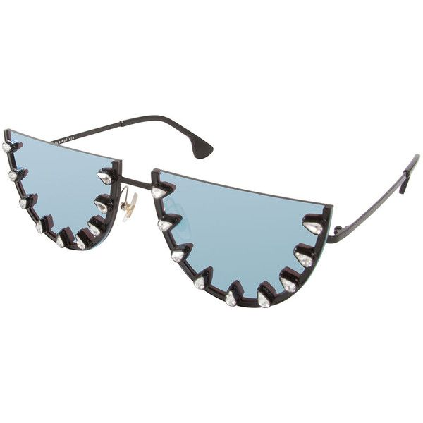 Alice + Olivia Palm Canyon Flat-Top Watermelon Sunglasses (470 AUD) ❤ liked on Polyvore featuring accessories, eyewear, sunglasses, blue, anti glare glasses, mirrored lens sunglasses, blue glasses, mirror lens sunglasses and palm tree glasses