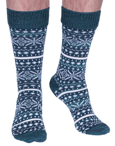 The Christmas Isle luxury wool boot sock in emerald | Made in Wales by Corgi