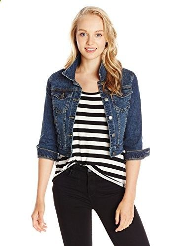My Michelle Junior's Cropped Denim Jacket with Rolled Sleeves and Front  Pockets, Dark Blue,