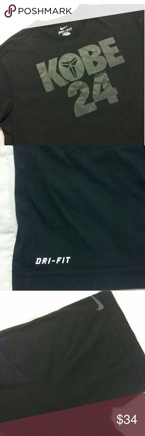 Nike DriFit Kobe shirt #24 black XL Brand new worn once and too big for my husband Size XL Nike drifit shirt Designed to keep you cool and dry during workouts. Great for long days at the gym, everyday wear or lounge clothes Black t-shirt Kobe 24 in grey lettering Drifit at bottom left side Nike Shirts Tees - Short Sleeve