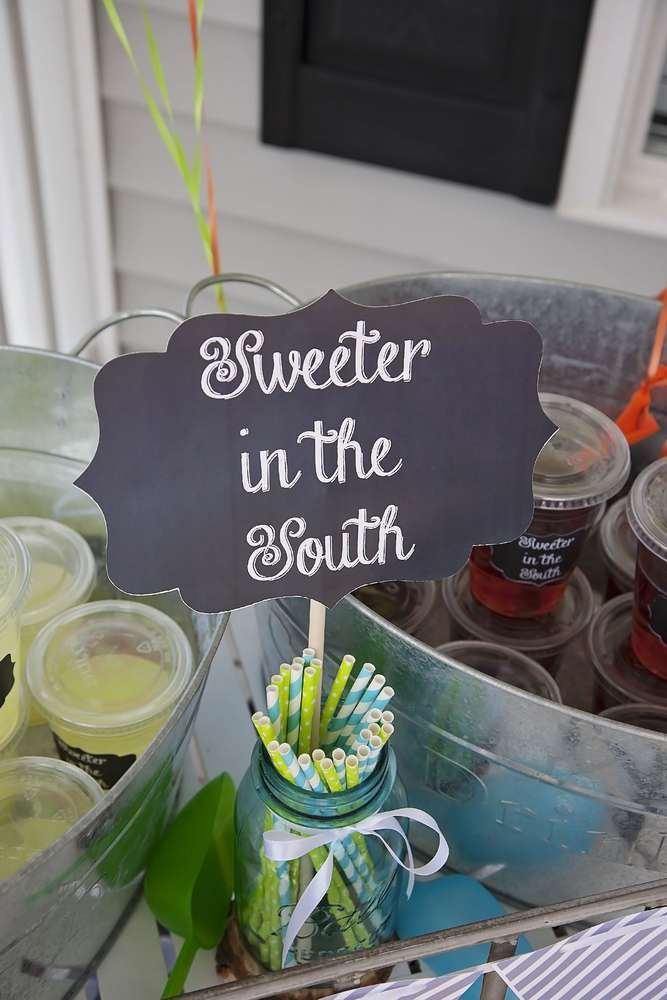 Sweet Tea at a Southern Boy Birthday Party!  See more party planning ideas at CatchMyParty.com!