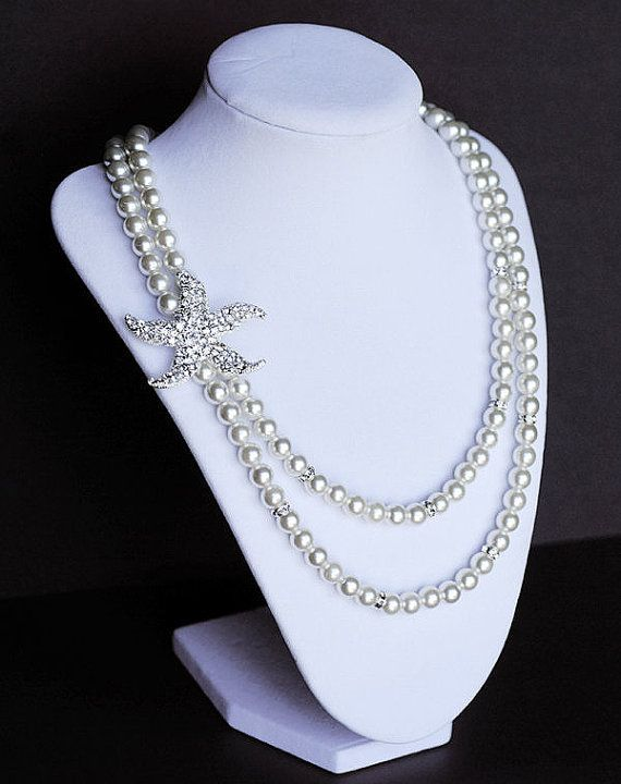 Bridal Pearl Rhinestone Necklace Double Strand by LXdesigns, $72.00