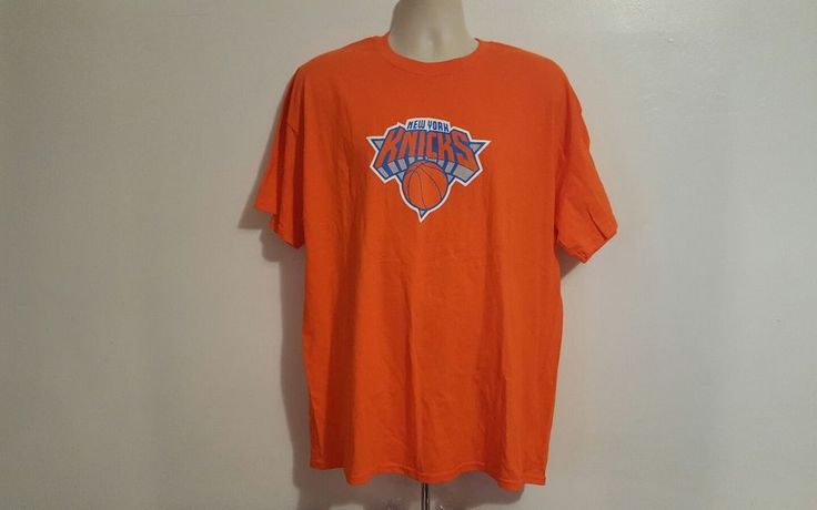 New York Knicks Logo NBA Adult Orange XL TShirt #Gildan #NewYorkKnicks