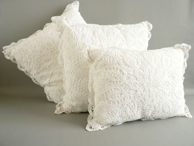 how to make pillowcases with lace added | Battenburg Lace Pillow Set White Cotton Lace Pillows by Etsplace