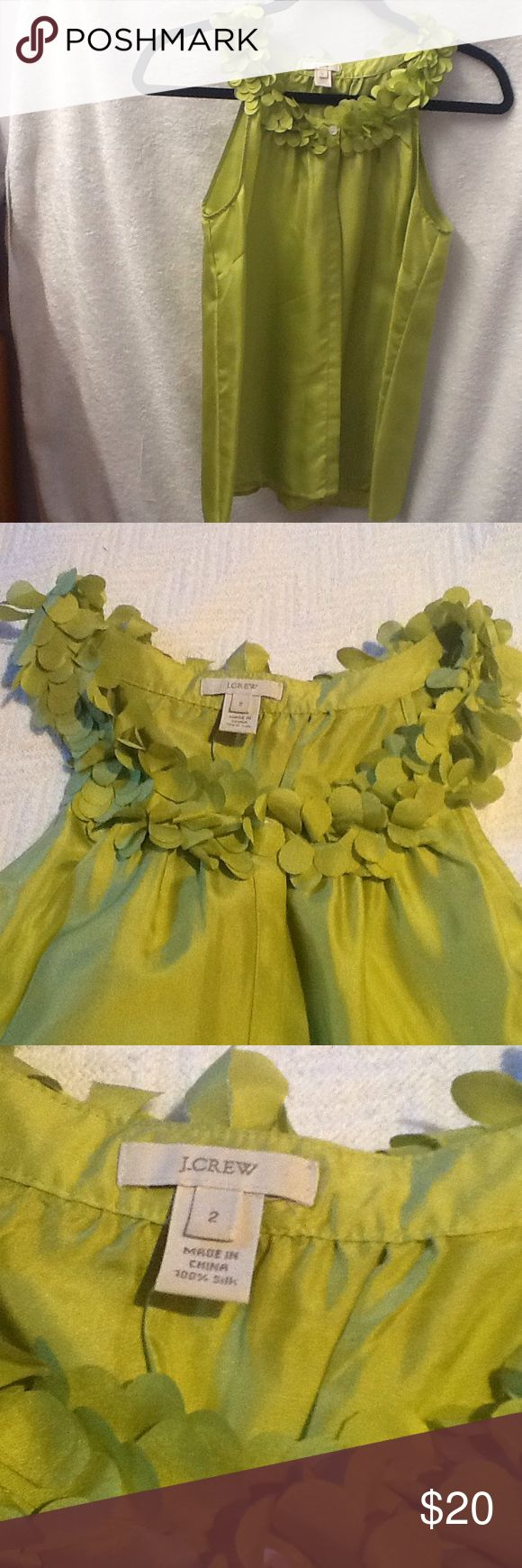 J. Crew silk top Lovely summer top in bright green with petal effect neckline. J. Crew Tops Blouses