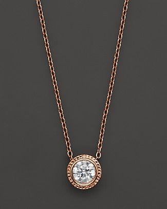 Diamond Solitaire Rose Gold Pendant Necklace