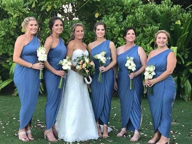 One of our stunning brides with her gorgeous bridesmaids in steel blue Pia Gladys Perey design. Available at Nora and Elle.