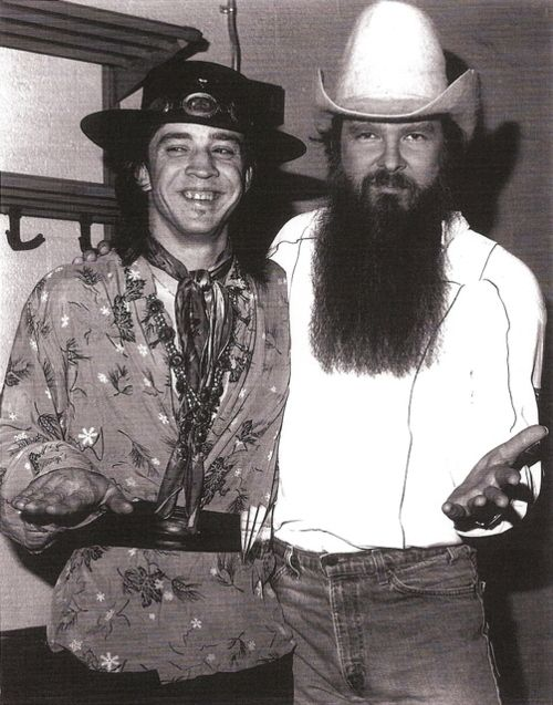 Billy Gibbons (right here and shown with Stevie Ray Vaughn on the left), founding member of ZZ Top turns 65 today - he was born 12-16 in 1949. Gosh they look young here