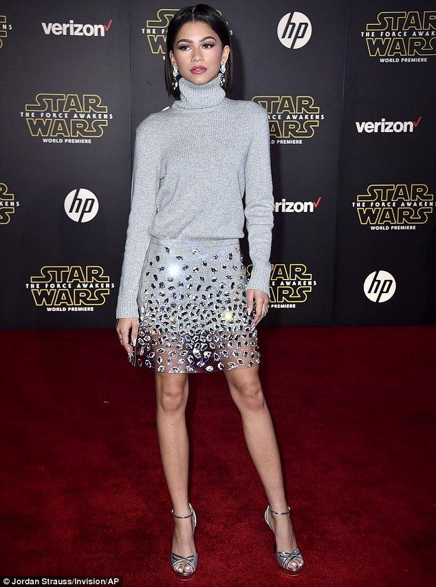 It's see-through-PO!: Zendaya Coleman wore a sheer plastic skirt to the premiere of Star W...