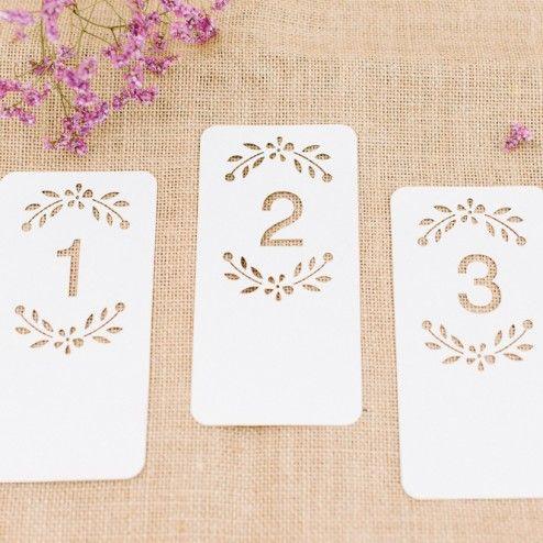 Tischnummern weiß mit floralem Muster Lasercut -1