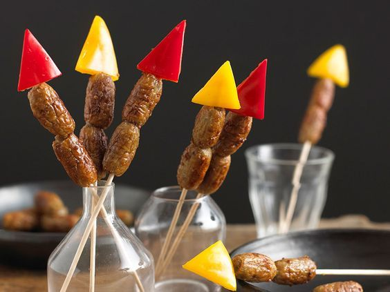 Great idea for Guy Fawkes or the Fourth!  As colourful as real fireworks these sausage kebabs will spark interest in all quarters.