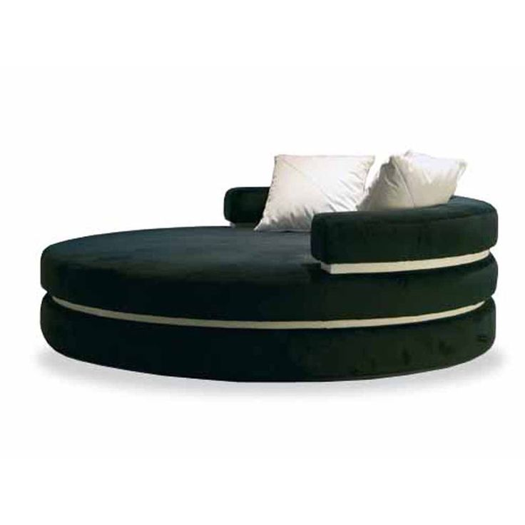 Name: Loveseat  Type: round chaise longue  Design: Andrea Fogli    DESCRIPTION:  Round chaise long with not removable cover, with four loose cushions included, abs hidden feet.