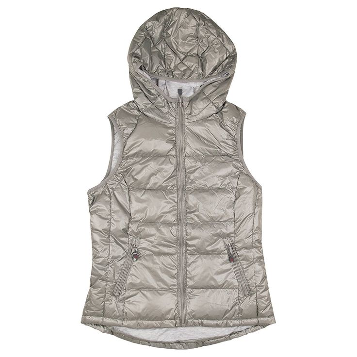 Tangerine Womens Size X-Large Active Quilted Zip Up Puffer Vest, Silver Grey