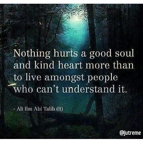 """""""Nothing hurts a good soul and kind heart more than to live amongst people who can't understand it"""" #Quotes"""