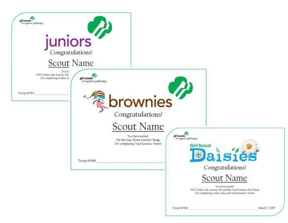 Girl Scout Printables - Customized Awards.
