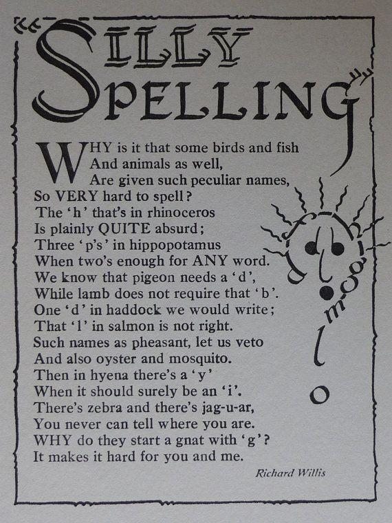 1936 Vintage Print Of A Children's Poem Silly by PrimrosePrints