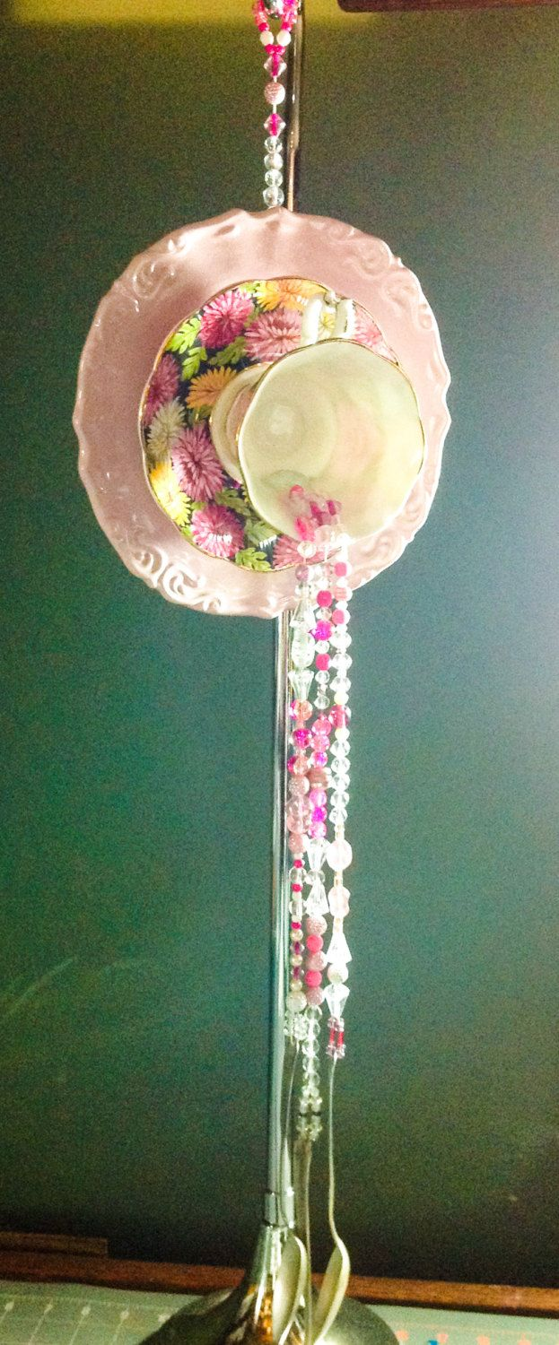 Pink Flowered Dish Cup Wind Chimes Suncatcher Dishes