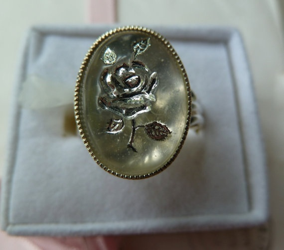 White and silver rose vintage cabochon ring by morethandivine, £15.00