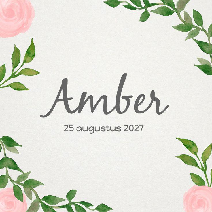 Een hip geboortekaartje met bladeren en wat roze rozen. De teksten zijn naar wens aan te passen.