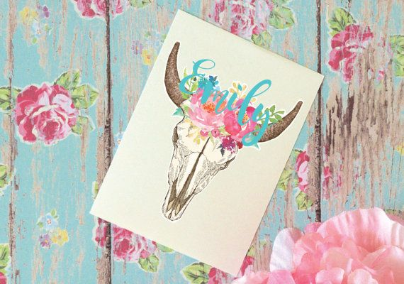 Steer Skull Floral Monogram Decal, Watercolor Flowers, Glitter Monogram Sticker, Tumbler Decal, Watercolor Peonies, Printed Decal