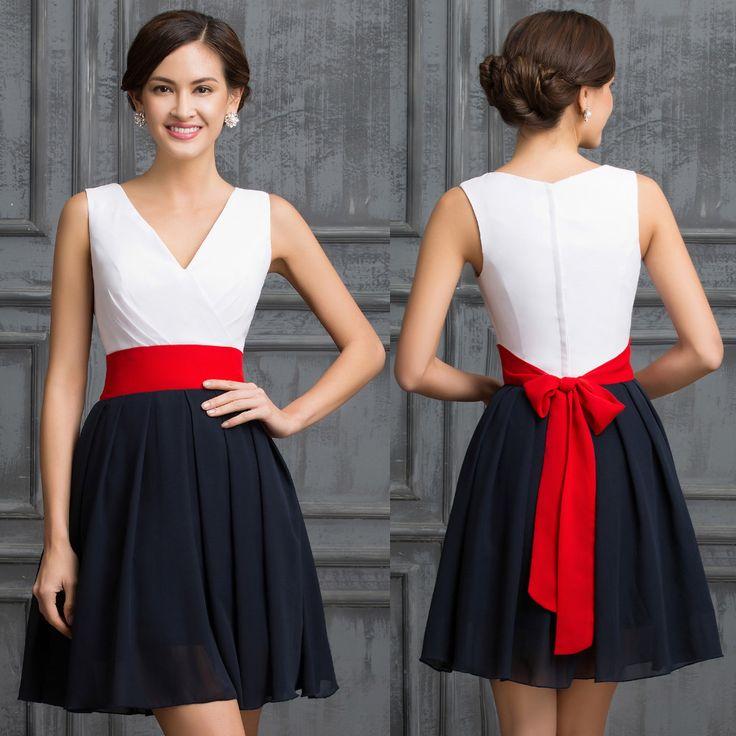 Red and black short formal dresses