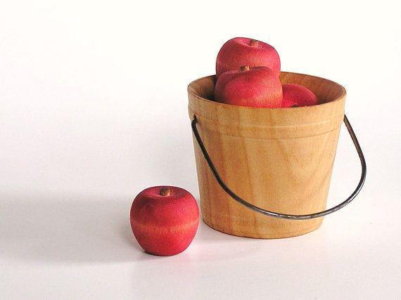 Wood Toy- Autumn Harvest Apples-Waldorf-Montessori- Nature Table- Educational Toy via Etsy