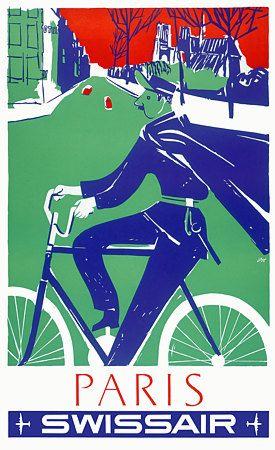 Paris France Vintage French Travel Poster