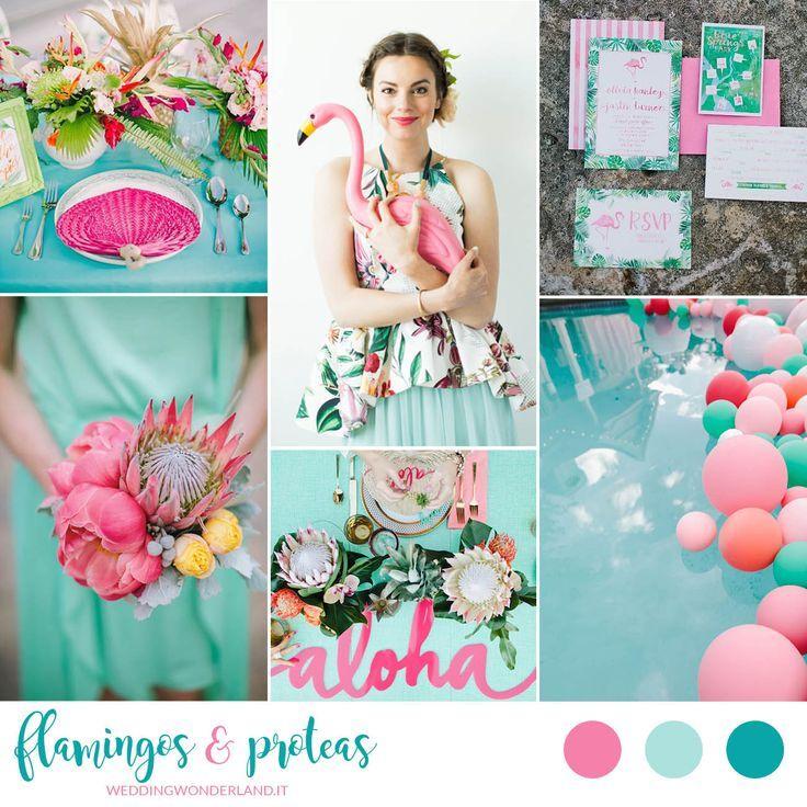 flamingos & proteas - pink and aqua tropical wedding inspiration