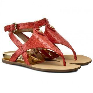 Sandale Guess dama talpa joasa piele sarpe rosii
