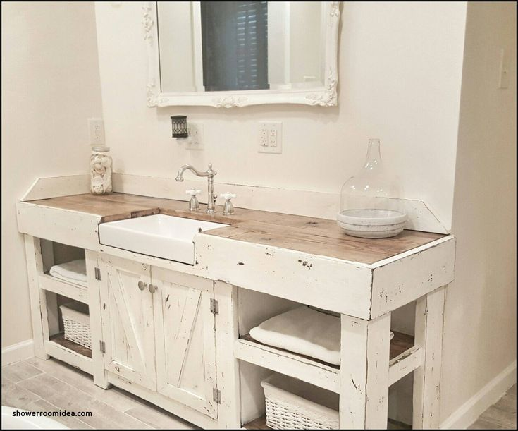 Cottage Style Bathroom Idea with Farmhouse Sinks
