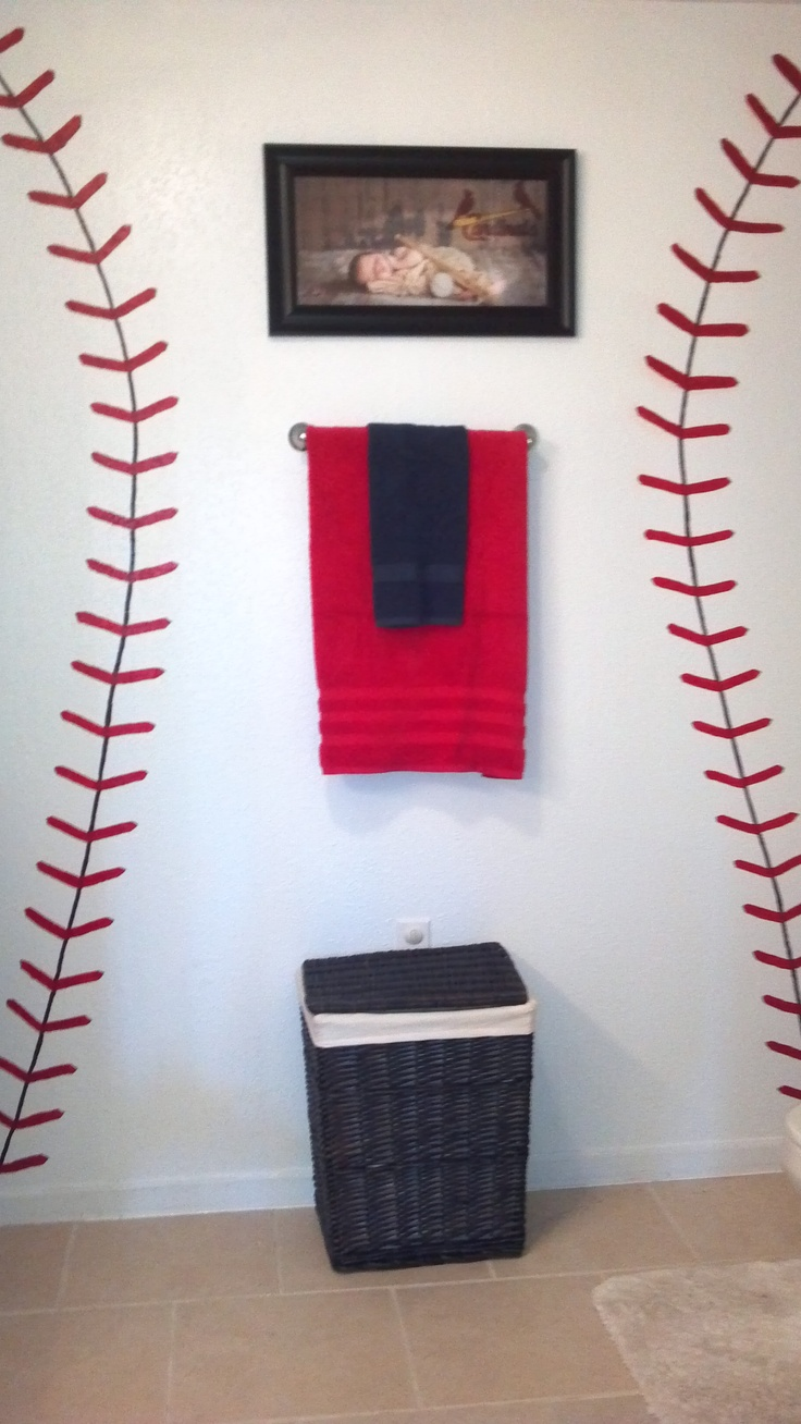 Awesome Cardinals Baseball Bathroom Start With The Seams, Add The Birds On The Bat