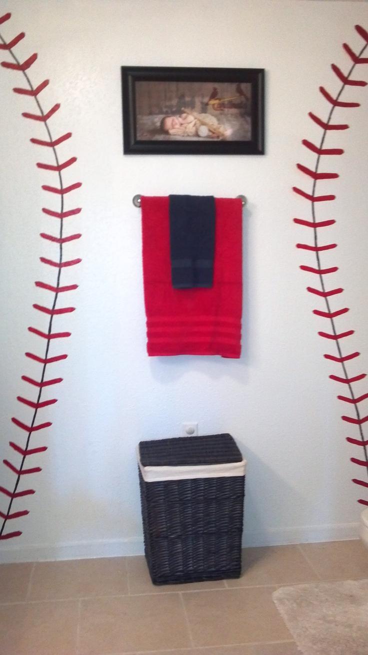 Cardinals Baseball Bathroom Start With The Seams Add The Birds On The Bat