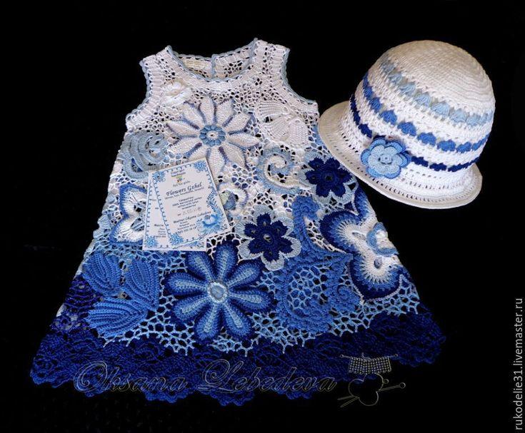 Купить Комплект Платье и шляпка летнее вязаное крючком для девочки Гжель - платье ирландское кружево