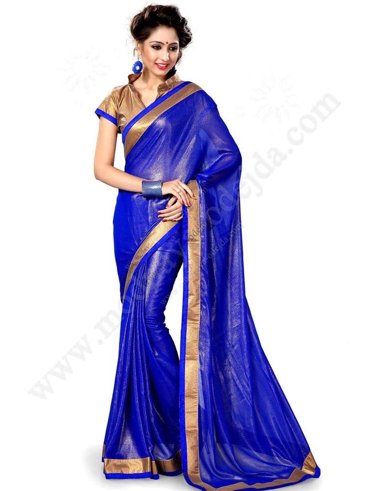 Синее яркое индийское сари из органзы