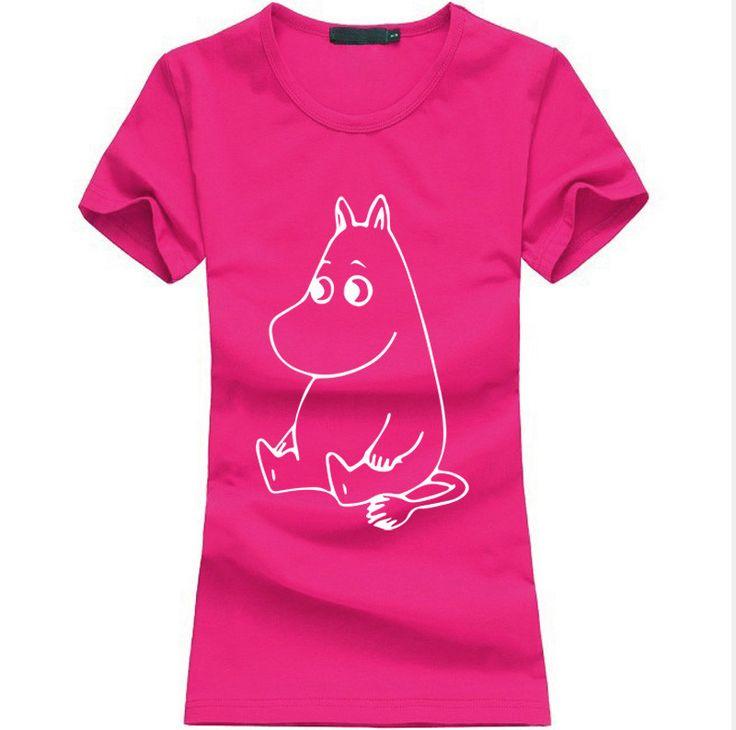 kawaii MOOMIN Cartoon Print Funny Tshirt Women Cotton Casual Shirt For Lady fashion harajuku brand female t-shirt punk tops